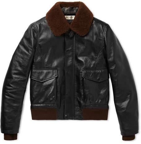 Saint Laurent Shearling-trimmed Leather Flight Jacket - Brown