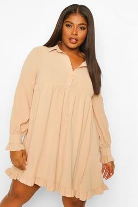 boohoo Plus Ruffle Hem Smock Shirt Dress