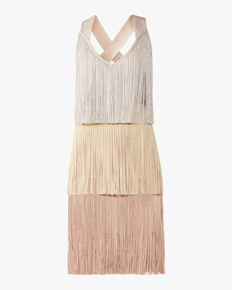 Herve Leger V Neck Tiered Fringe Dress