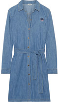 Kenzo Embroidered Washed-denim Shirt Dress - Mid denim