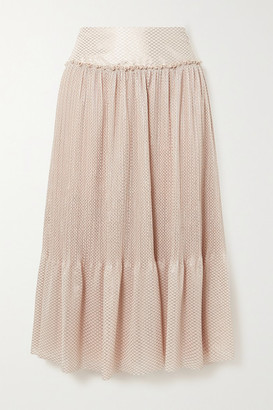 See by Chloe Tiered Metallic Plisse-chiffon Midi Skirt - Beige