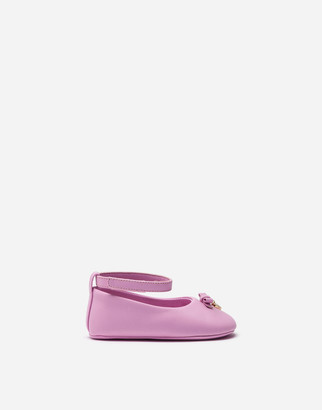 Dolce & Gabbana Nappa Leather Ballet Flats With Ankle Strap And Charm