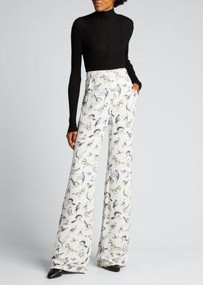 Lela Rose Maggie Bird-Print Wide-Leg Pants