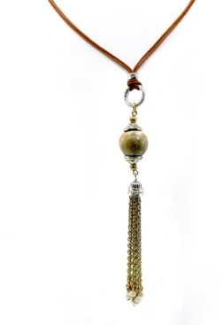 T.r.u. by 1928 Silver Tone Genuine River Stone Chain Tassel Leather Necklace