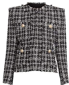 Balmain Women's Collarless Tweed Jacket