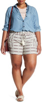 Jolt Tie Front Stripe Linen Blend Short (Plus Size)
