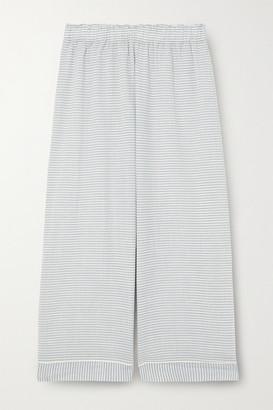 Eberjey Nautico Cropped Striped Cotton-blend Pajama Pants - Sky blue