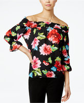 XOXO Juniors' Printed Off-The-Shoulder Top