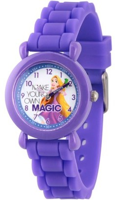 Disney Princess Rapunzel Girls' Purple Plastic Time Teacher Watch, Purple Silicon Strap
