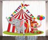 Ambesonne Circus Decor Collection, Cartoon Cute Elephant Standing with Clown with Circus Tent Enjoyment Fun Fair Design, Window Treatments for Kids Bedroom Curtain 2 Panels Set, 108X84 Inches, Red