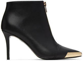 Versace Black and Gold Cap Ankle Boots