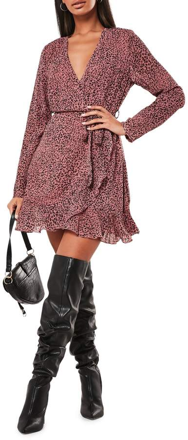 Missguided Leopard-Print Wrap Dress