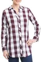 Foxcroft Petite Women's Fay Crinkle Plaid Stretch Cotton Blend Tunic Shirt