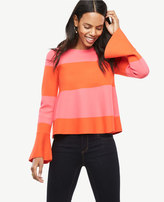 Ann Taylor Striped Flare Cuff Sweater