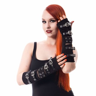 Poizen Industries Riot Armwarmers Arm Warmers Punk Gothic Buckles Corset Lace Gloves - Black