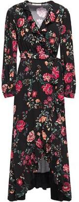 Maje Ruffle-trimmed Floral-print Crepe Midi Wrap Dress