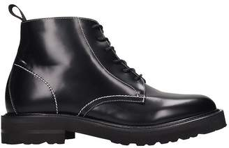 Low Brand Laced Hight Ab Combat Boots In Black Leather