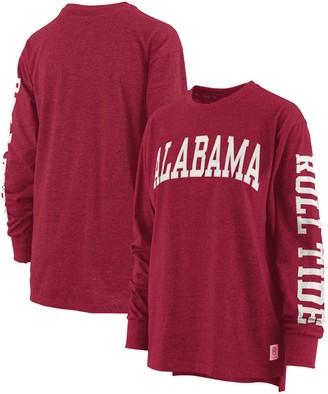 Women's Pressbox Crimson Alabama Crimson Tide Two-Hit Canyon Long Sleeve T-Shirt