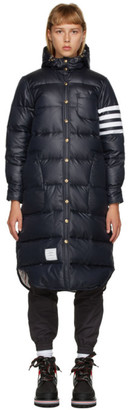 Thom Browne Navy Down 4-Bar Hooded Parka