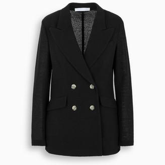 Harris Wharf London Black linen double-breasted blazer