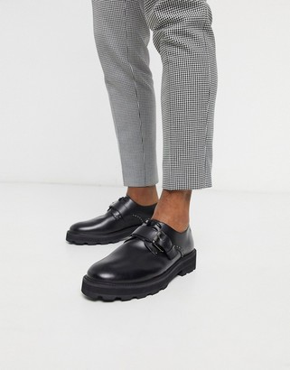 Feud London chunky leather buckle shoe in black