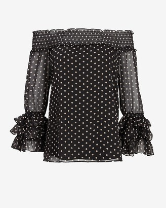 Express Polka Dot Off The Shoulder Ruffle Top