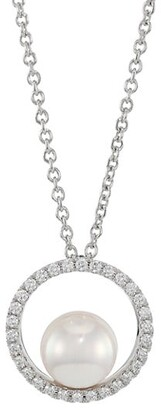 Mikimoto Japan 18K White Gold, 7MM White Cultured Akoya Pearl & Diamond Pendant Necklace