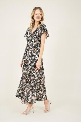 Yumi Black Floral Lurex Midi Dress