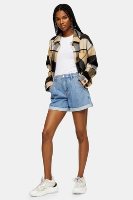Topshop Balloon Roll Hem Mid Stone Denim Shorts