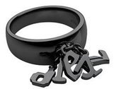 Diesel Fonts Ring (6.5, Black Ion Plated Stainless Steel)