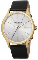 Akribos XXIV Men&s Genuine Leather Strap Watch