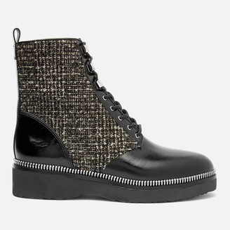 MICHAEL Michael Kors Women's Haskell Lace Up Boots - Black/Natural