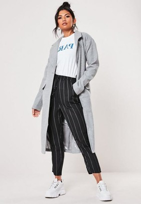 Missguided Grey Belted Faux Wool Coat
