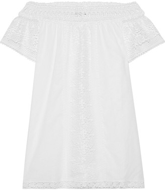 Charo Ruiz Ibiza Off-the-shoulder Crocheted Lace-paneled Cotton-blend Voile Blouse