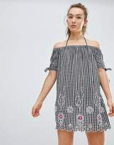 Floozie by Frost French Gingham Off The Shoulder Beach Dress