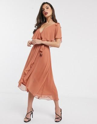 ASOS DESIGN midi split sleeve cape back dress with tie shoulder