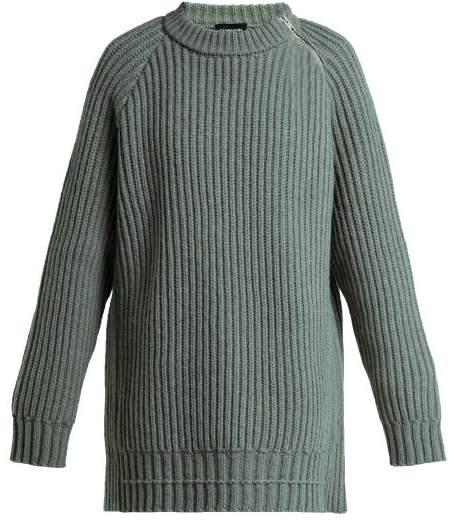 Calvin Klein Side Zip Oversized Lambswool Sweater - Womens - Grey