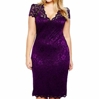 Kimodo Ccl KIMODO Women's Dress Plue Size Solid V-Neck Short Sleeve Evening Dresses Lace Hollow Out Dress High Waist A Line Party Dress Casual Dresses for Women Purple