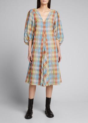 Ganni Checkered Seersucker Puff-Sleeve Dress