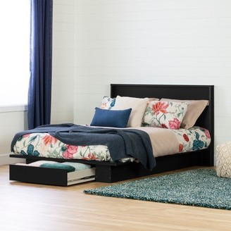 South Shore Holland Full/Queen Platform Bed with Drawer and Headboard (54/60'') Set, Black