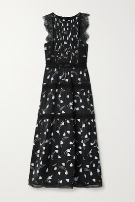 Self-Portrait Lace And Crochet-trimmed Tiered Satin-jacquard Midi Dress - Black