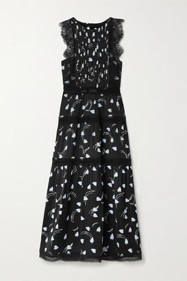Self-Portrait Self Portrait Lace And Crochet-trimmed Tiered Satin-jacquard Midi Dress - Black