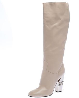 Casadei Beige Leather Chain Motif Metal Block Heel Knee High Boots Size 40