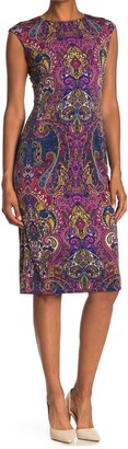 London Times Paisley Cap Sleeve Midi Dress