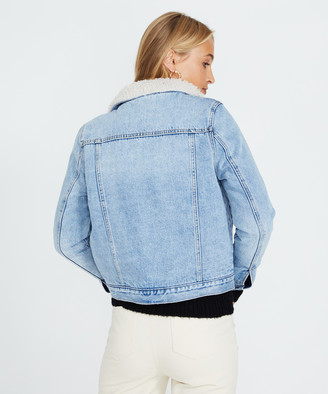 ROLLA'S Sherpa Denim Jacket Stella Blue