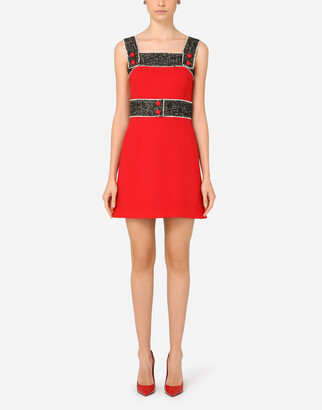 Dolce & Gabbana Short Wool Crepe Dress With Tweed Details