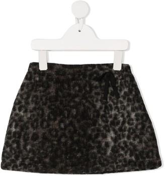 Douuod Kids Leopard Print Felted Skirt