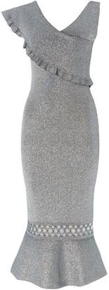 Issa Rachel Ruffle Silver Knitted Silver Dress