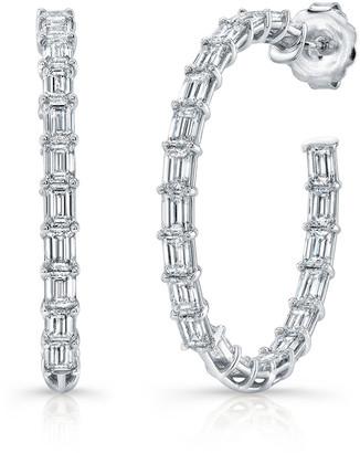 Norman Silverman 18k White Gold Emerald-Cut Diamond Hoop Earrings
