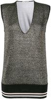 Lanvin metallic deep-V top - women - Polyester/Viscose/Wool/Metallized Polyester - XS